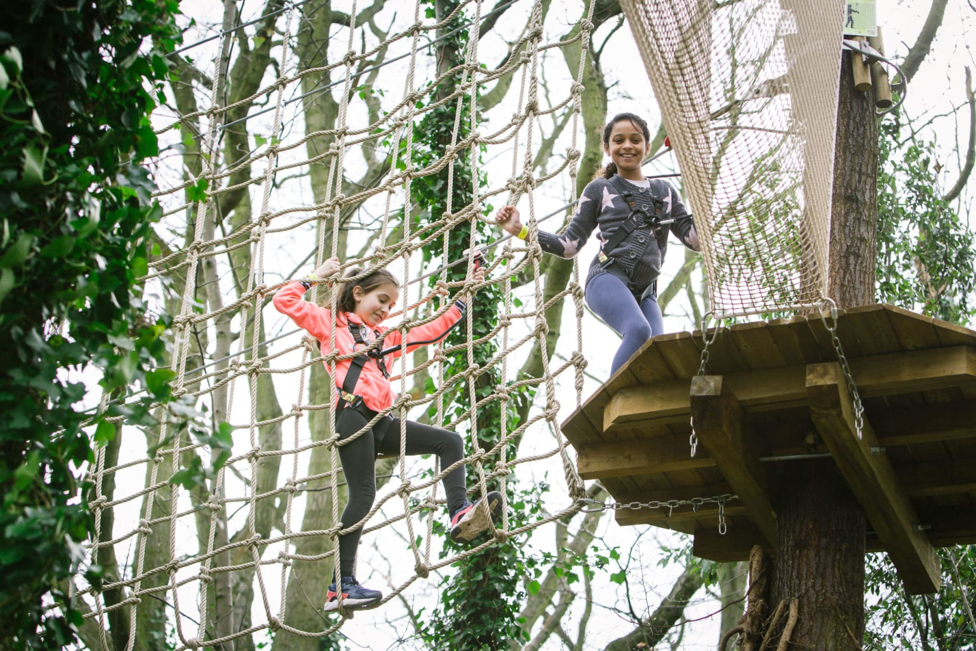 Two children climb through aerial rope obstacles at Go Ape Treetop Journey